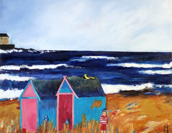 painting of elie beach huts - Thea Muller Jensen painting