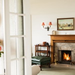 Lit fireplace in living room
