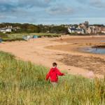 child walking in fields towards the sea